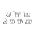 Set water purifier icon in linear style