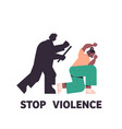 silhouette angry husband punching and hitting vector image vector image