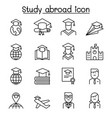 study abroad icon set in thin line style vector image vector image