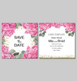 template for wedding invitation peony flowers gold vector image vector image