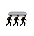 three common people carry a coffin and dance vector image