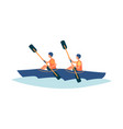 two people kayaking in river - flat isolated vector image vector image