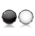 white and black buttons with chrome frame round vector image vector image