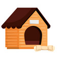 wooden dog house with bone isolated icon vector image vector image