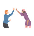 young man and woman giving high five cheerful vector image vector image