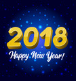 blue greeting card with a new year 2018 vector image