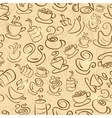 Brown Seamless Pattern with Coffee and Tea Cups vector image vector image