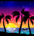 caribbean view with palm trees vector image