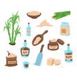 cartoon color cane sugar icon set vector image vector image
