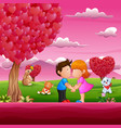 Cartoon little boy and girl kissing in beautiful p