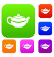 chinese teapot set color collection vector image vector image
