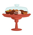 chocolate cake and cupcake cookie and candy on vector image vector image