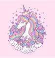 cute cartoon unicorn princess children vector image vector image
