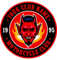 devil head motorcycle club badge vector image