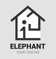 elephant home house or real estate shape logo vector image vector image