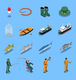 fishing isometric icons set vector image vector image