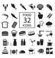 food drink seafood 32 icons vector image vector image