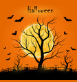 halloween day with trees bats and a full moon vector image vector image