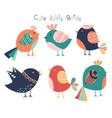 Hand drawn cute birds collection isolated on
