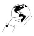 hand holding earth world in black and white vector image vector image