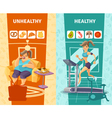 Healthy And Unhealthy Woman Banners Set vector image vector image