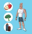 healthy man athletic muscular food nutrition diet vector image vector image