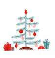 hygge childish christmas tree with gifts vector image