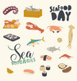 icons set seafood themed background with asian or vector image