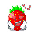 in love fresh ripe strawberry isolated on mascot vector image