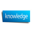 knowledge blue paper sign on white background vector image vector image