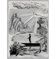 Landscape with fisherman vector image vector image