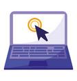laptop computer with arrow cursor vector image vector image