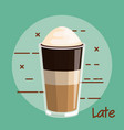 latte coffee with whipped cream glass cup vector image vector image