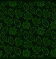 leaves seamless outline green dark vector image vector image
