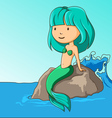 Little mermaid sitting on the rock vector image vector image