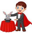 magician performing his trick rabbit appearing vector image vector image