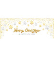 merry christmas calligraphy with golden decoration vector image