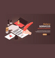 notary services horizontal banner vector image vector image