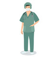 nurse in a medical mask with a stethoscope image vector image
