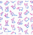 origami seamless pattern with thin line icons vector image vector image