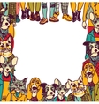 People like cats and dogs border frame isolate vector image