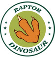 red dinosaur paw with claws circle logo design vector image