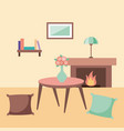 rest room with pillows table bookshelf lamp vector image vector image