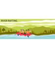 river rafting banner - cartoon people navigating vector image vector image