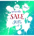 Sale tag with white blot over bright blue vector image