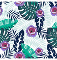 seamless tropical pattern with flowers and palm vector image