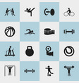 Set of 16 editable active icons includes symbols