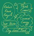 set of hand drawn ecology lettering vector image vector image