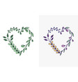 set of hand drawn wreath hearts with stylized vector image