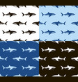 sharks seamless pattern black white and blue vector image vector image